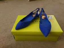 TED BAKER DABIH Blue Flat Shoes. UK 6, Brand New In BOX Suede Leather RRP £100