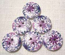 Réf 18/110 - BOUTONS BOIS RONDS ** 18 mm ** Fleurs ton bleu violet Qté x6 ou x10