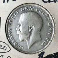 1916 Great Britain Half 1/2 Crown Silver Coin