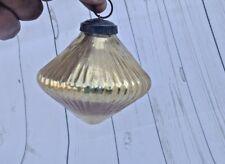 Old  Vintage 3.25'' Heavy Ribbed Golden  Glass Kugel / Ornament