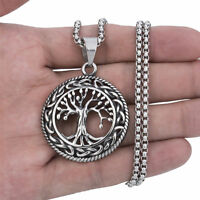 Celtic Tree of Life Silver Stainless Steel Pendant Chain Necklace Set