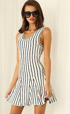 Knit Striped Dress L 10 12 Stretch Thick Sporty Pleated Sports Black White Tank