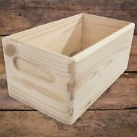 XSmall Unpainted Wooden Open Storage Box with Etched Handles and Rounded Corners