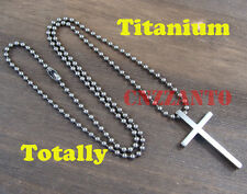 Totally Titanium Military ball chain L size Cross Pendant necklace anti-allergy