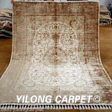 Yilong 5.6'x8' Beige Classic Silk Area Rug Sale Hand Knotted Online Carpets 1561