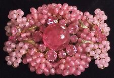Vintage Miriam Haskell Brooch Pin~Pink Glass/RS/Seed Beads/Gilt Filigree~Signed