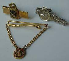 Vintage Moose Tie Clip Clasp Bar Lot Jewel Eye PAP Loyal Order Lock & Key Shape