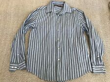 Mens PERRY ELLIS Button Front Long Sleeve Smart Casual Shirt Slim Fit Striped L