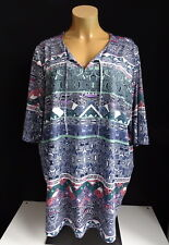 NEU Übergröße schicke Damen Tunika Long Shirt mit grafisches Druckmuster Gr.60