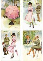 MEUNIER S. ARTIST SIGNED SET OF 6 Vintage Postcards (L2594)