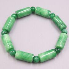 """New Chinese Green Jade Women Bracelet 8mmW Tube Beads Bracelet 6.7""""L"""