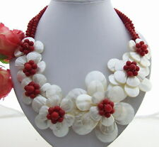 """18"""" White Shell Flower Coral Red Crystal Statement Necklace"""
