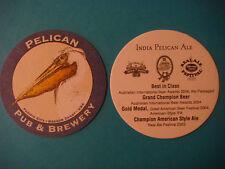 Beer Bar Coaster ~ PELICAN Pub & Brewery India Pelican Ale ~ World Medal Winner