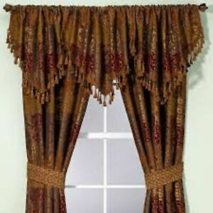 Croscill Cassidy West Opulence Ascot Valance 41W x 21LGold Umber Red Chenille
