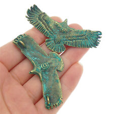 9pcs Green Bronze Alloy Mini Eagle Shaped Jewelry Pendants Charms Jewelry Making