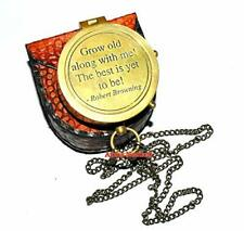 Brass Nautical Antique Compass- Brass compass- poem Pocket Compass W/LEATHE BOX