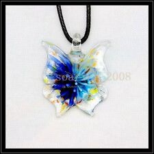 2016 New butterfly lampwork Murano art glass beaded pendant necklace BB33