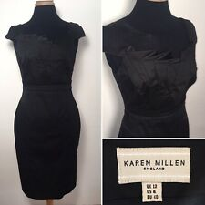 Karen Millen UK 12 Fitted Futuristic Black Sheath Pencil Dress