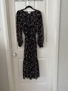 SEED Dress Size 10 Navy Floral Lined Optional Tie Waist
