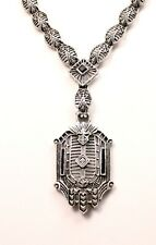 ART DECO DIAMOND AND SAPPHIRE STERLING SILVER PENDANT AND NECKLACE