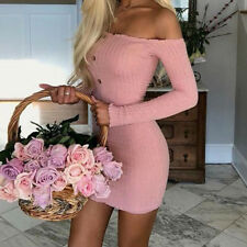 Beauty Women Long Sleeve Sexy Off Shoulder Knitted Sweater Bodycon Mini Dress US