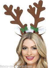 Ladies Reindeer Antler Headband Xmas Hat Fancy Dress Costume Accessory Hair Band