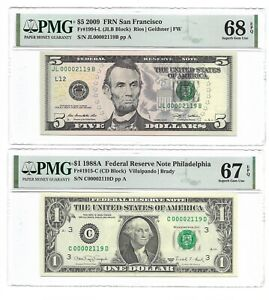Matching LOW S/Ns, 1988A $1 & 2009 $5, PMG GEM UNCIRCULATED 67/68 BANKNOTES 2119