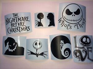 Nightmare Before Xmas Vinyl Decal Sticker Jack Sally Zero Oogie Decor Wall Glass