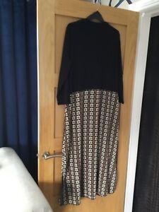 BNWT Primark Plus Sizes Black Contrast Chain Print Maxi Dress Size 18