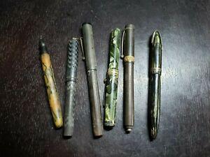 Lot of 6 Fountain Pens, Parker, Sheaffer, Eversharp, Merit