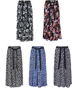 Womens Summer Floral Print Skirt Viscose Fabric Elasticated Waist Tie 35 Inch