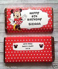 Personalizados Minnie Mouse Chocolate BAR ENVOLTURA encaja Galaxy 114g Cumpleaños Regalo