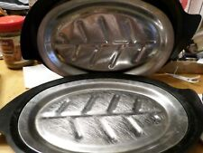 Lot 2 Nordic Ware Sizzler Fajita Steak metal platters and holders