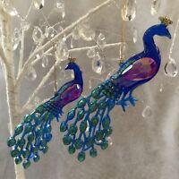 Rainbow Peacock Acrylic Decoration Christmas Tree Decorations Gisela Graham