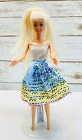 "MATTEL BARBIE Doll Long Blonde Hair Blue Eyes Body Suit & Skirt  12"" Tall Used"