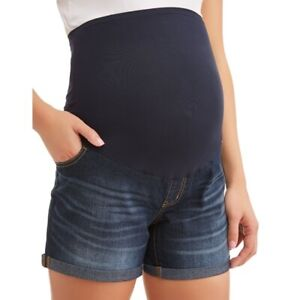 Time and Tru Maternity Shorts Size S (4-6) Over Belly Band Pregnant Medium Blue