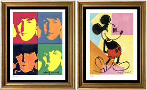 "2 Warhol Prints ""Beatles"" ""Mickey Mouse"" Signed & Hand-Numberd Ltd Ed (unframed)"