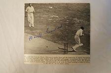 Cricket -Harold Larwood signed Photo Card -Bodyline -Woodfull Hit Over the Heart