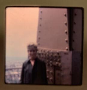 1965 Kodachrome Photo Slide 35mm Eiffel Tower Paris France Kodak Lady On Terrace