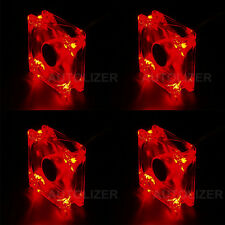 Autolizer Sleeve Bearing 120mm Green LEDs Silent Cooling Fan for Computer PC Red