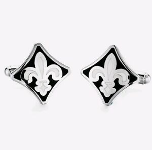 Stylish White Spearhead Silver Cufflinks Formal Wedding Business Gift for Shirt