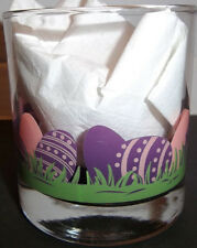 Pink & Purple Eggs 3 in tall Water Drink Tea Glass Easter Eggs Casual