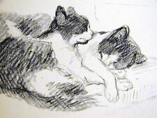 Lucy Dawson Snugging Black & White Kittens Cats 1946 Vintage Art Print Matted