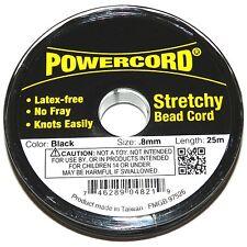WC229f Powercord Black 0.8mm Elastic Jewelry & Beading Stretch Cord 25-Meter