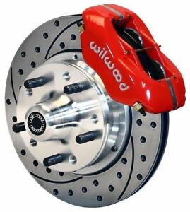 """WILWOOD DISC BRAKE KIT,FRONT,34-48 FORD EARLY,11"""" DRILLED ROTORS,RED CALIPERS"""