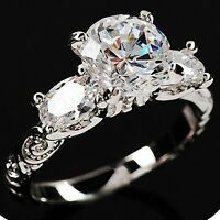 White Gold p Three stones Round Cut lab Diamond Engagement Engraved Wedding Ring