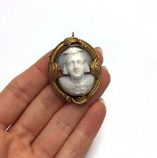 14K Yellow Gold Antique Etruscan Victorian High Relief Cameo Pendant Locket