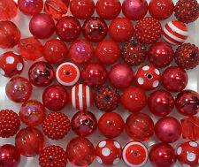 20mm Red Bubblegum Beads 52pc lot mixed style Chunky Jewelry Necklace