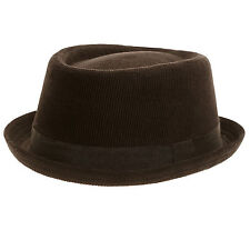 Unisex Black Corduroy Pork Pie Cord Trilby Hat 100% cotton