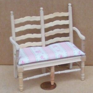 1:12 Scale Natural Finish Wooden Seat For Two Dolls House Garden Bench Furniture